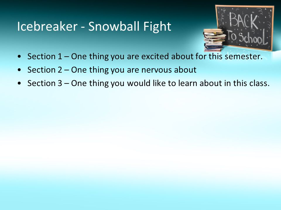 Icebreaker - Snowball Fight Section 1 – One thing you are excited about for this semester.