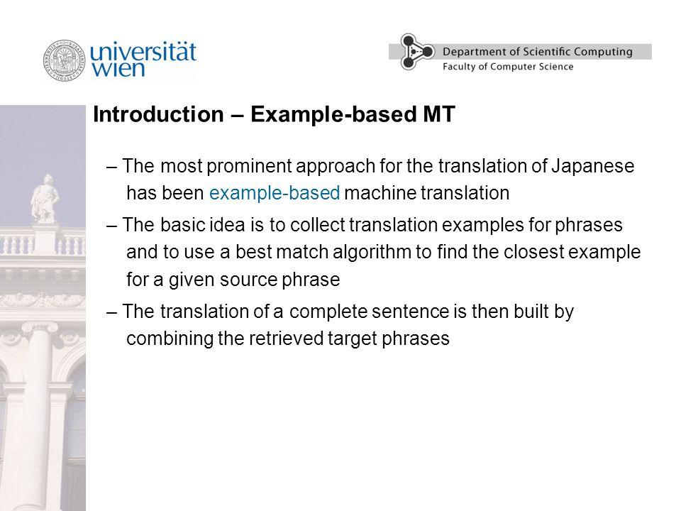 JETCAT – Japanese-English Translation Using Corpus-based