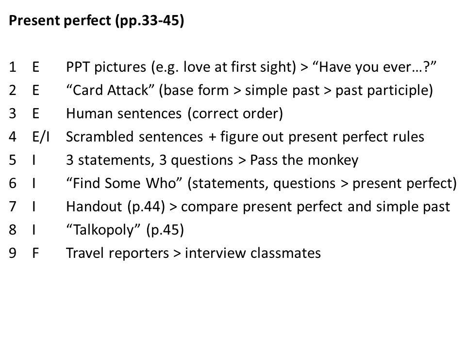 EIF (productive skills and grammar) E= Encounter  Students