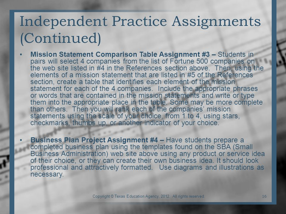 Independent Practice Assignments (Continued) Mission Statement Comparison Table Assignment #3 – Students in pairs will select 4 companies from the list of Fortune 500 companies on the web site listed in #4 in the References section above.