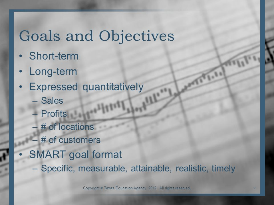 Goals and Objectives Short-term Long-term Expressed quantitatively –Sales –Profits –# of locations –# of customers SMART goal format –Specific, measurable, attainable, realistic, timely 7Copyright © Texas Education Agency, 2012.