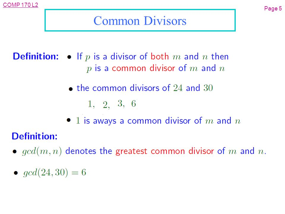 COMP 170 L2 Page 1 L05: Inverses and GCDs l Objective: n