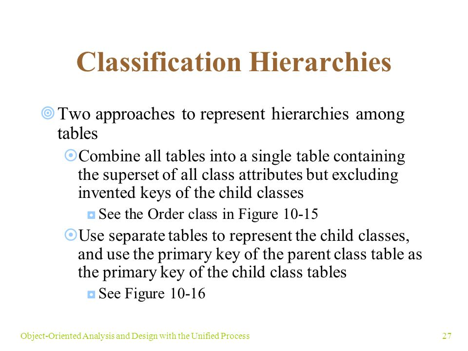 27Object-Oriented Analysis and Design with the Unified Process Classification Hierarchies  Two approaches to represent hierarchies among tables  Combine all tables into a single table containing the superset of all class attributes but excluding invented keys of the child classes ◘See the Order class in Figure 10-15  Use separate tables to represent the child classes, and use the primary key of the parent class table as the primary key of the child class tables ◘See Figure 10-16