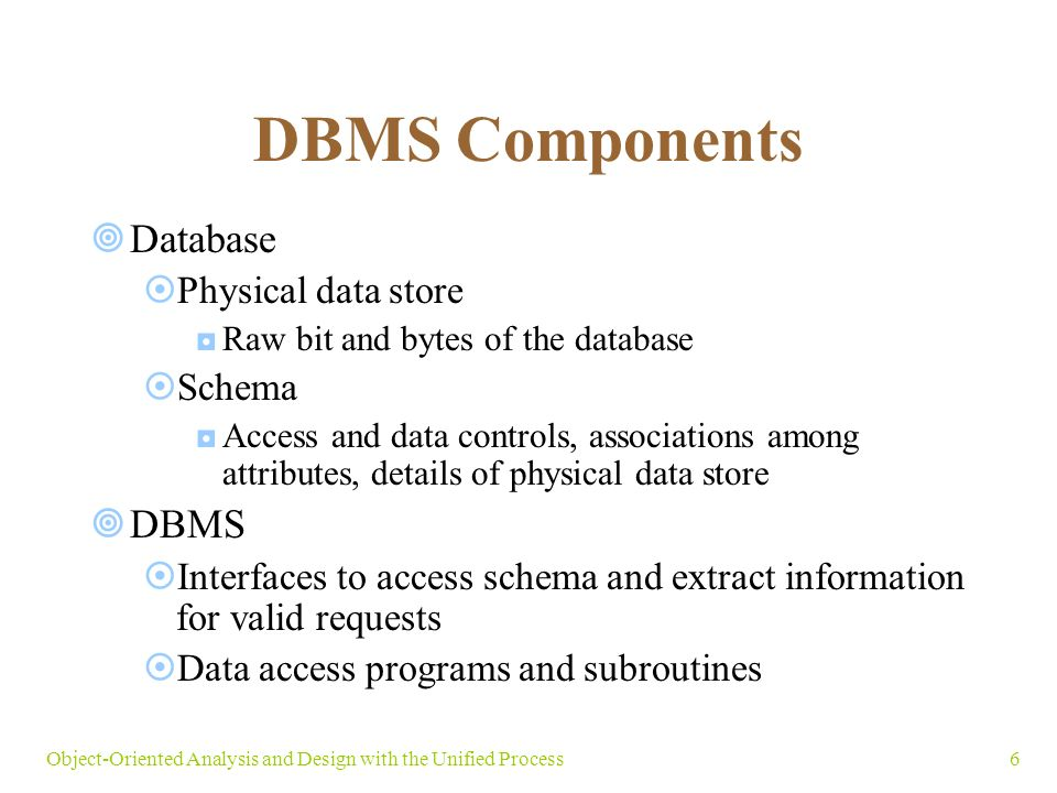 6Object-Oriented Analysis and Design with the Unified Process DBMS Components  Database  Physical data store ◘Raw bit and bytes of the database  Schema ◘Access and data controls, associations among attributes, details of physical data store  DBMS  Interfaces to access schema and extract information for valid requests  Data access programs and subroutines