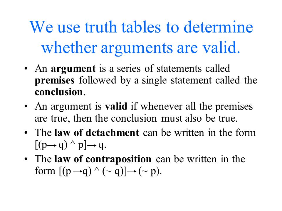how can you determine if an argument is valid