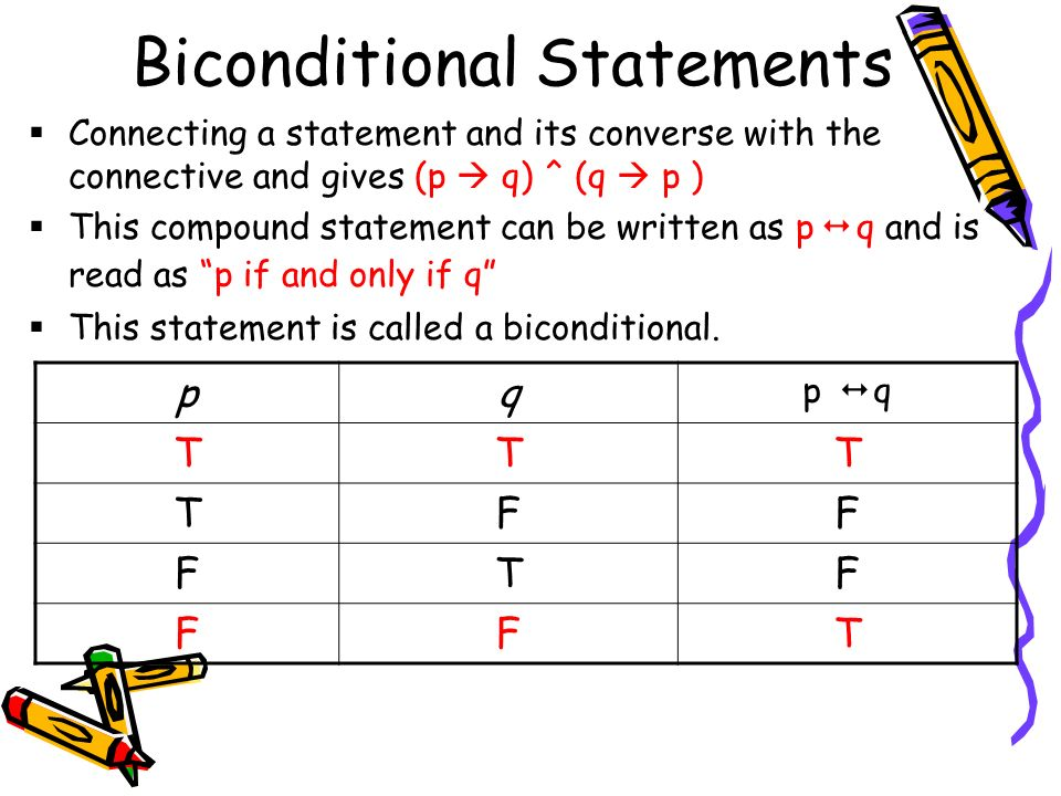 Biconditional Statements  Connecting a statement and its converse with the connective and gives (p  q) ^ (q  p )  This compound statement can be written as p   q and is read as p if and only if q  This statement is called a biconditional.