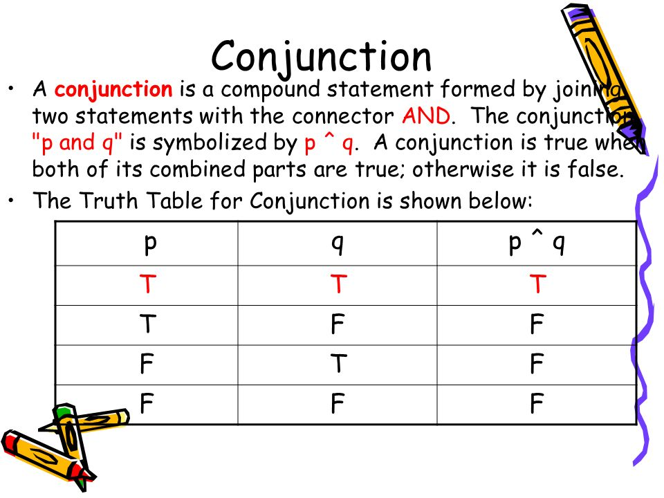 Conjunction A conjunction is a compound statement formed by joining two statements with the connector AND.