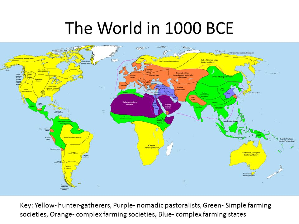 The World in 1000 BCE Key: Yellow- hunter-gatherers, Purple- nomadic pastoralists, Green- Simple farming societies, Orange- complex farming societies, Blue- complex farming states