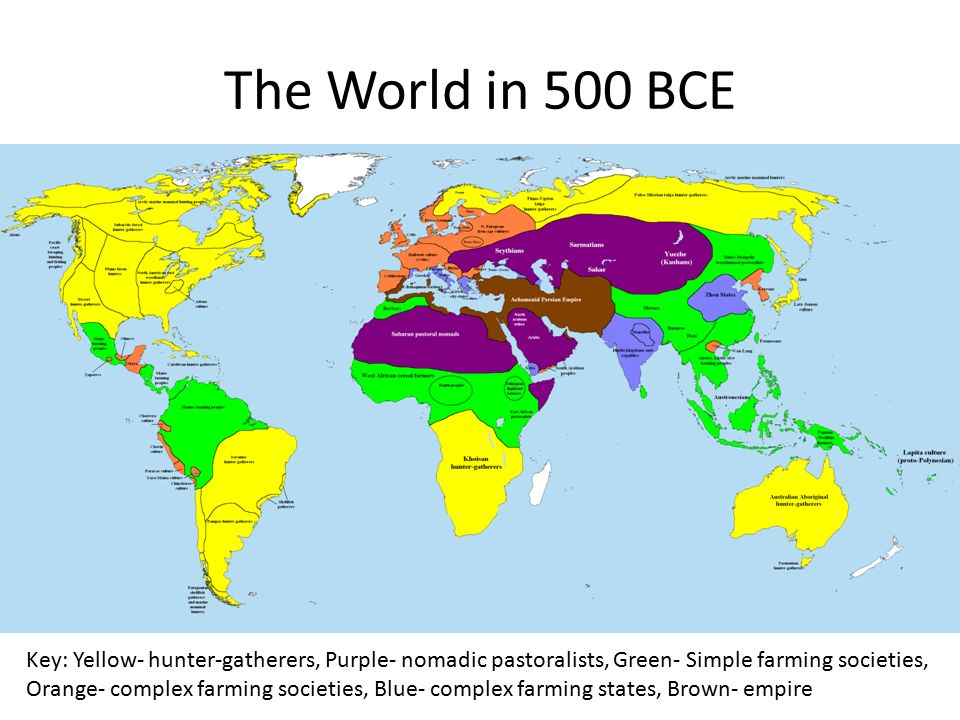 The World in 500 BCE Key: Yellow- hunter-gatherers, Purple- nomadic pastoralists, Green- Simple farming societies, Orange- complex farming societies, Blue- complex farming states, Brown- empire