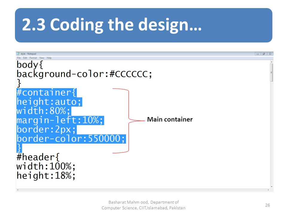 2.3 Coding the design… Basharat Mahm ood, Department of Computer Science, CIIT,Islamabad, Pakistan 26 Main container