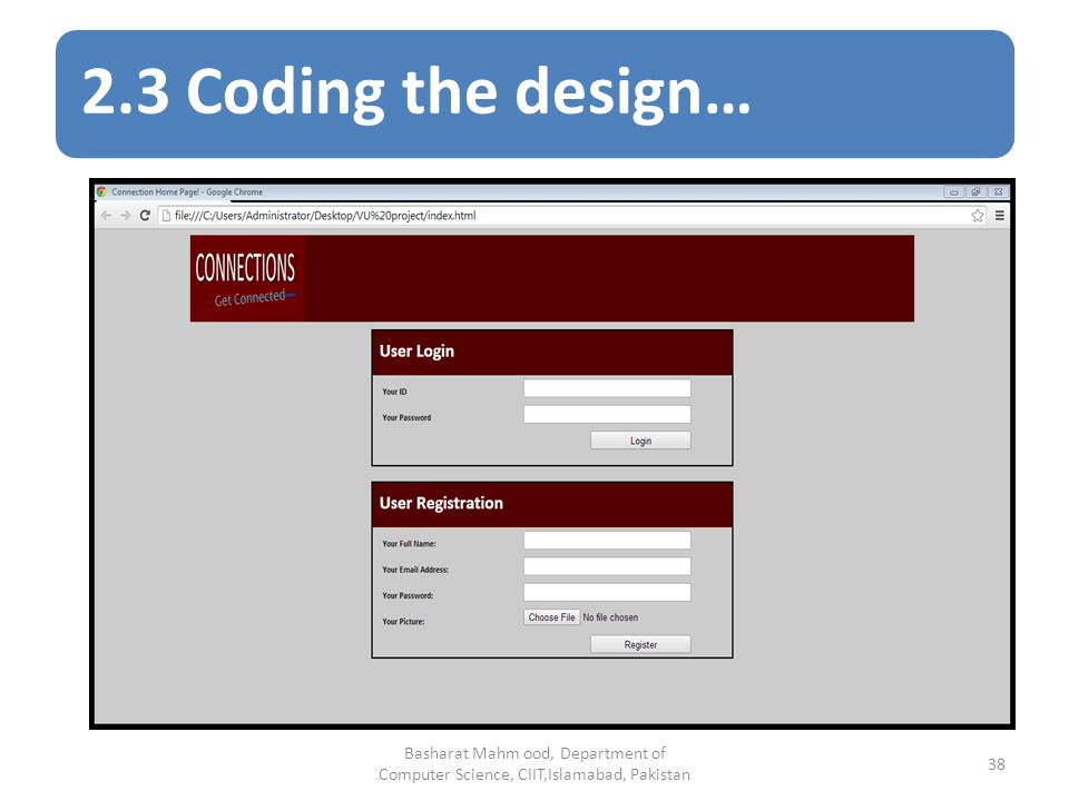 2.3 Coding the design… Basharat Mahm ood, Department of Computer Science, CIIT,Islamabad, Pakistan 38