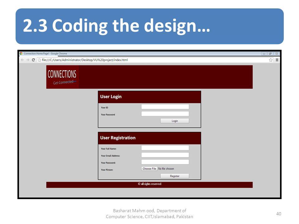 2.3 Coding the design… Basharat Mahm ood, Department of Computer Science, CIIT,Islamabad, Pakistan 40