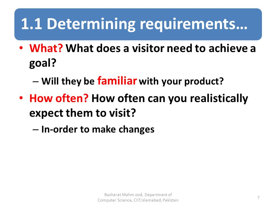 1.1 Determining requirements… What. What does a visitor need to achieve a goal.