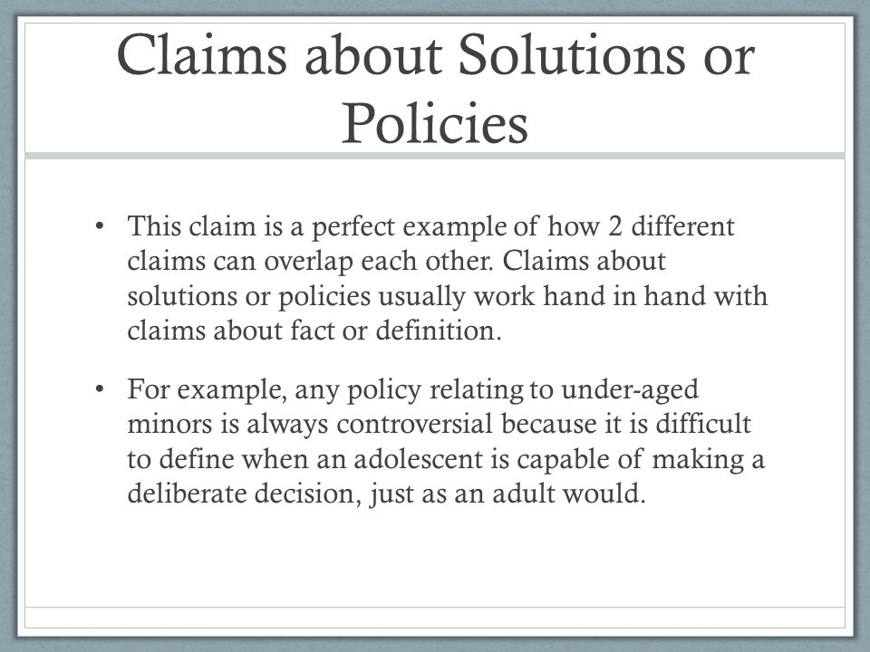 10 claims about solutions or policies