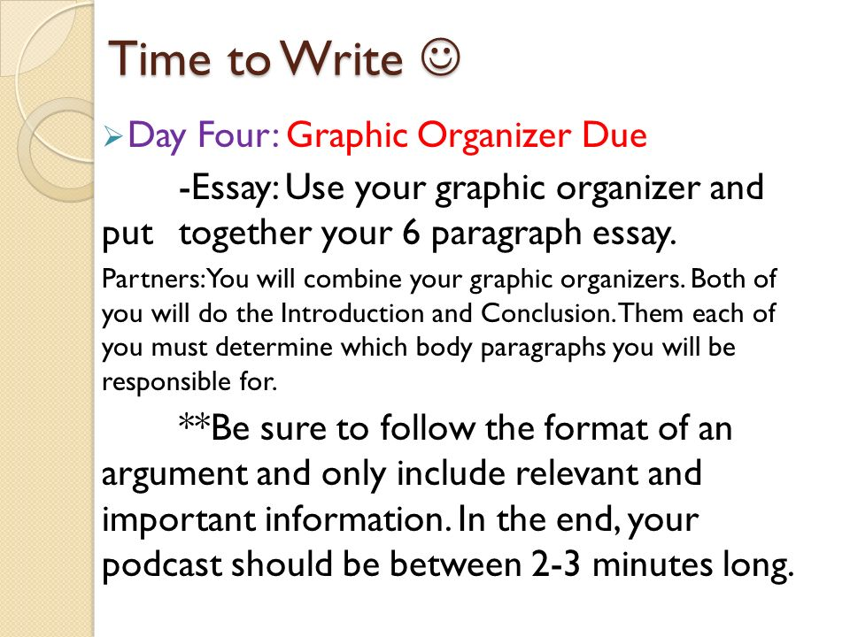 Time to Write Time to Write  Day Four: Graphic Organizer Due -Essay: Use your graphic organizer and put together your 6 paragraph essay.