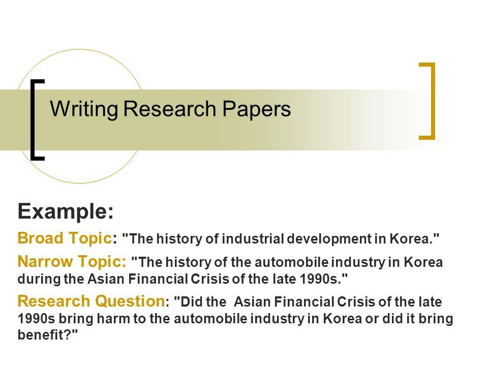financial crisis research paper topics