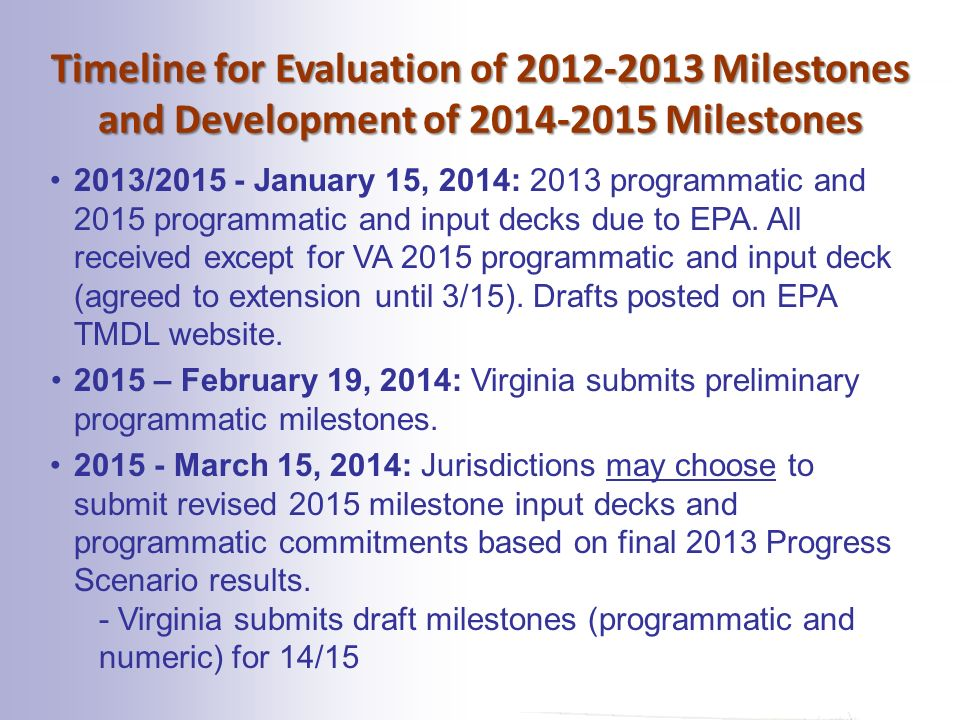 Timeline for Evaluation of Milestones and Development of Milestones 2013/ January 15, 2014: 2013 programmatic and 2015 programmatic and input decks due to EPA.