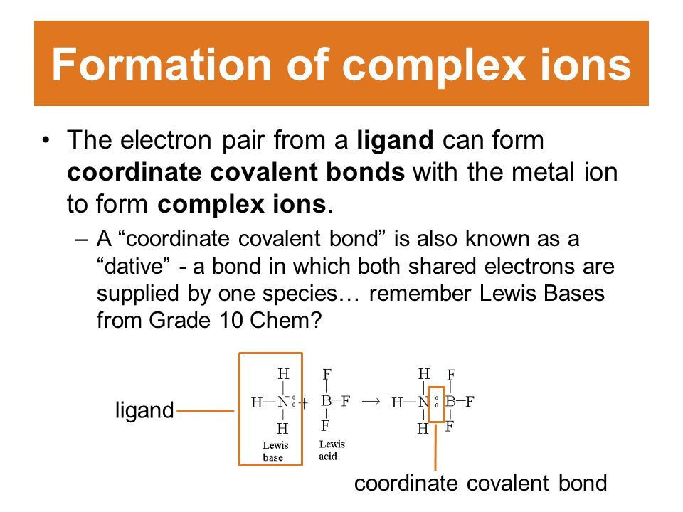 Formation of complex ions The electron pair from a ligand can form coordinate covalent bonds with the metal ion to form complex ions.