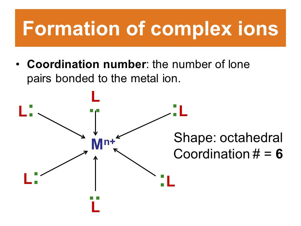 Formation of complex ions Coordination number: the number of lone pairs bonded to the metal ion.