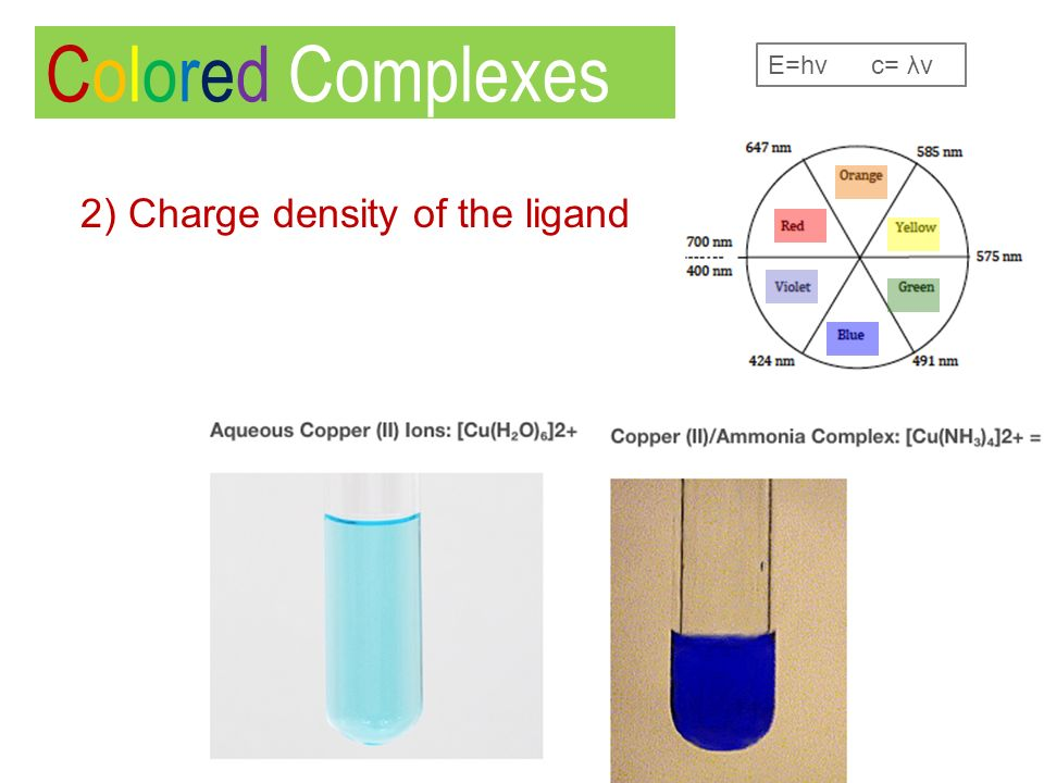 Colored Complexes 2) Charge density of the ligand E=hν c= λν