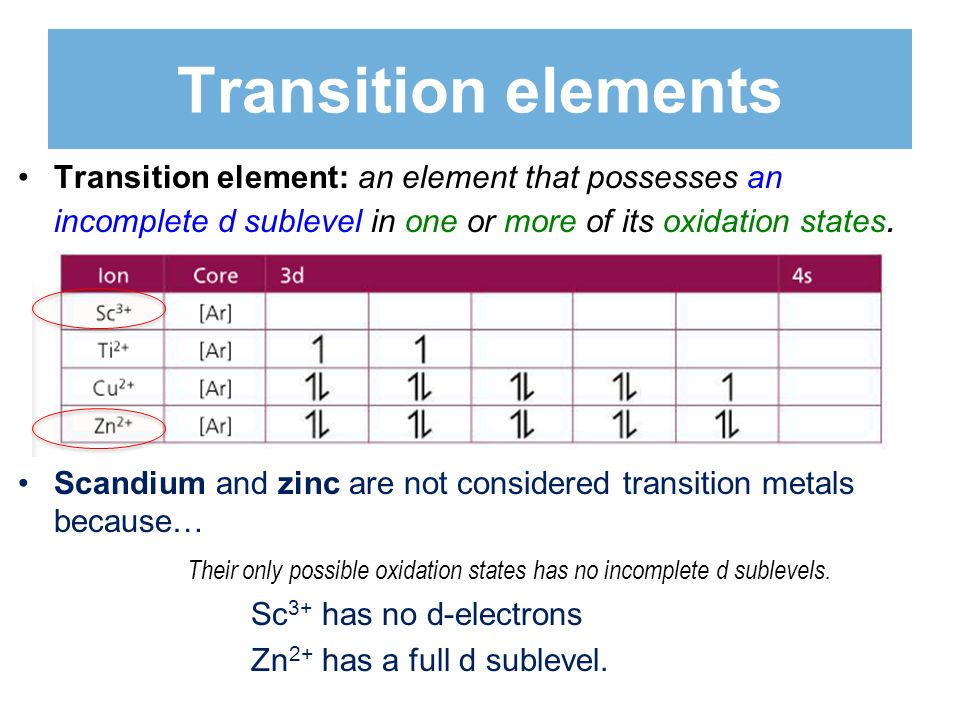 Transition elements Transition element: an element that possesses an incomplete d sublevel in one or more of its oxidation states.