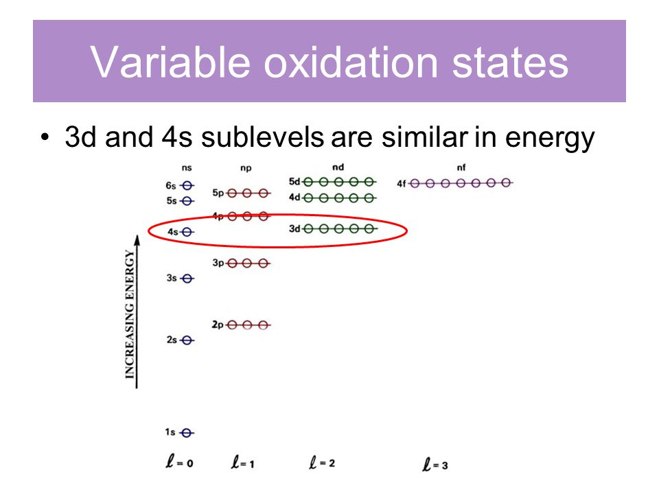 Variable oxidation states 3d and 4s sublevels are similar in energy