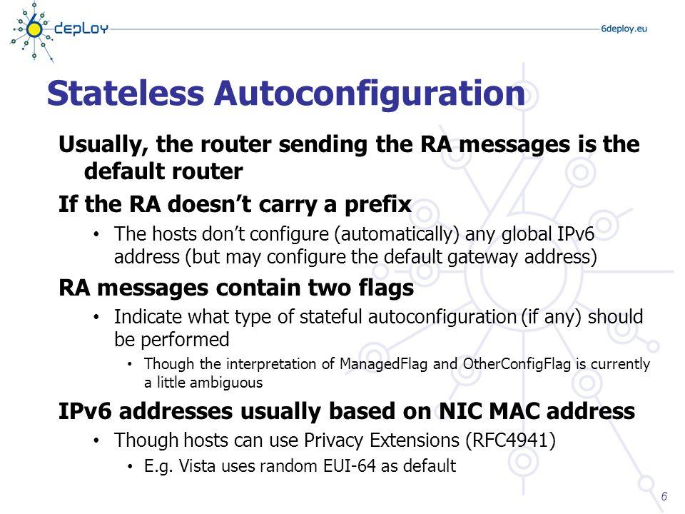 stateless autoconfiguration in ipv6