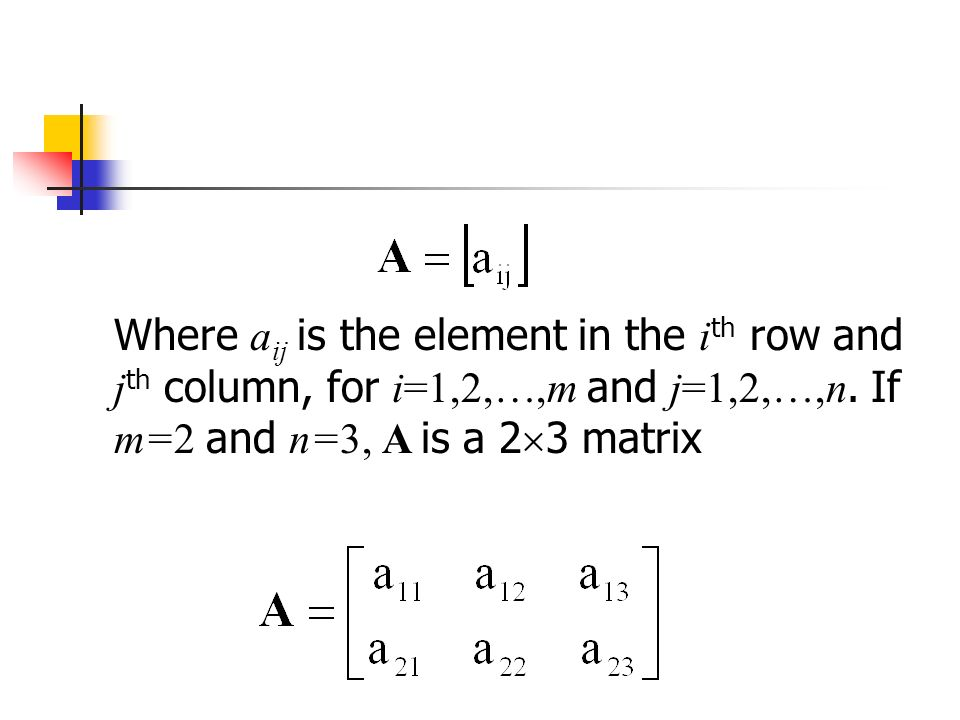 Where a ij is the element in the i th row and j th column, for i=1,2, ,m and j=1,2,…,n.