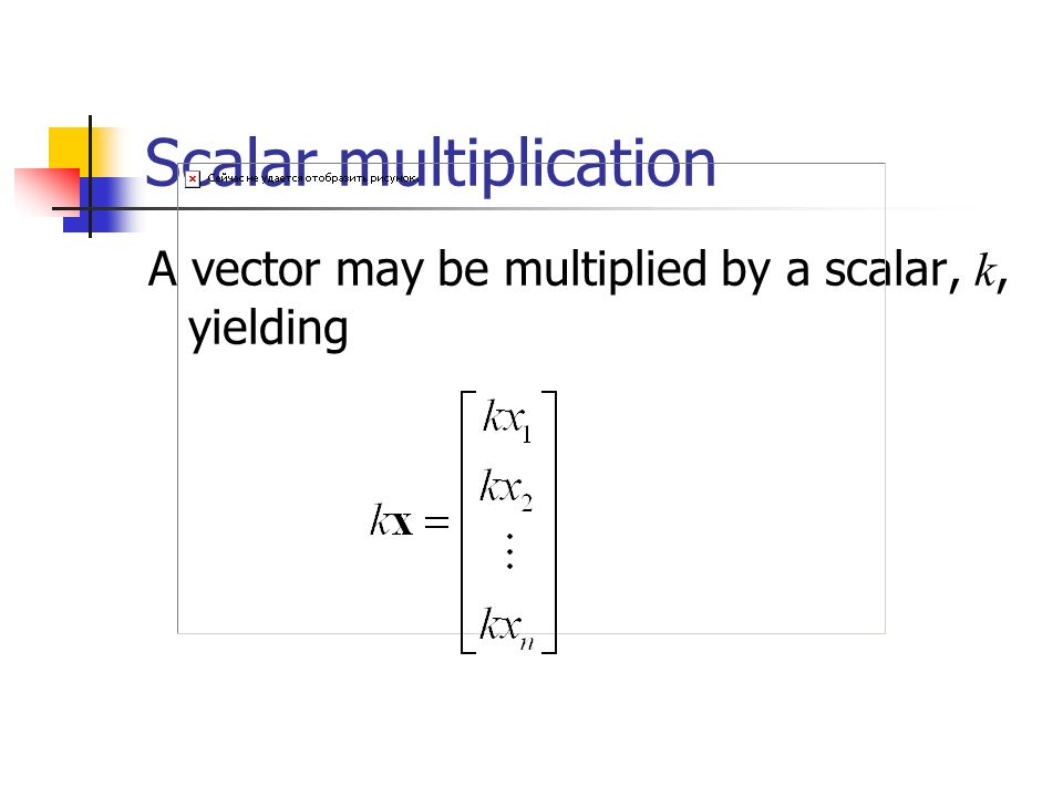 Scalar multiplication A vector may be multiplied by a scalar, k, yielding
