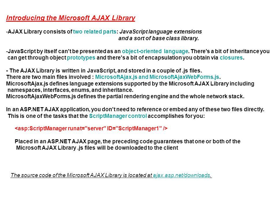 Inside the Microsoft AJAX Library - AJAX and JavaScript ( AJAX