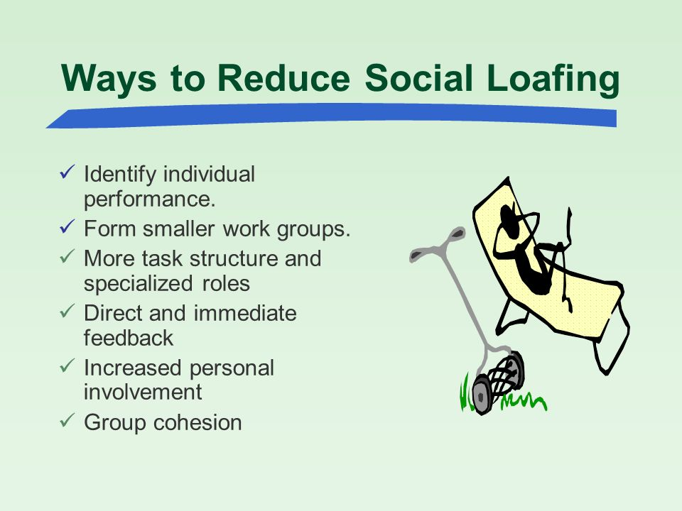 what three things cause social loafing Social identity theory chapter three the family- diversity, inequality and social change chapter 6: societies to social networks catholic social teachings, social structures, sin, and circle of social action.