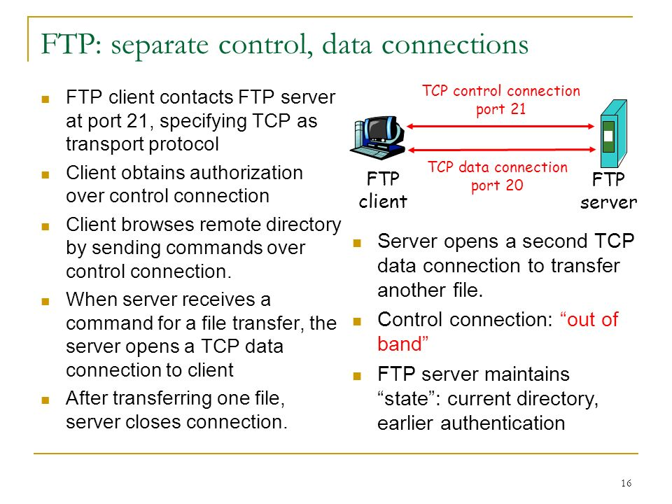 16 FTP: separate control, data connections FTP client contacts FTP server at port 21, specifying TCP as transport protocol Client obtains authorization over control connection Client browses remote directory by sending commands over control connection.