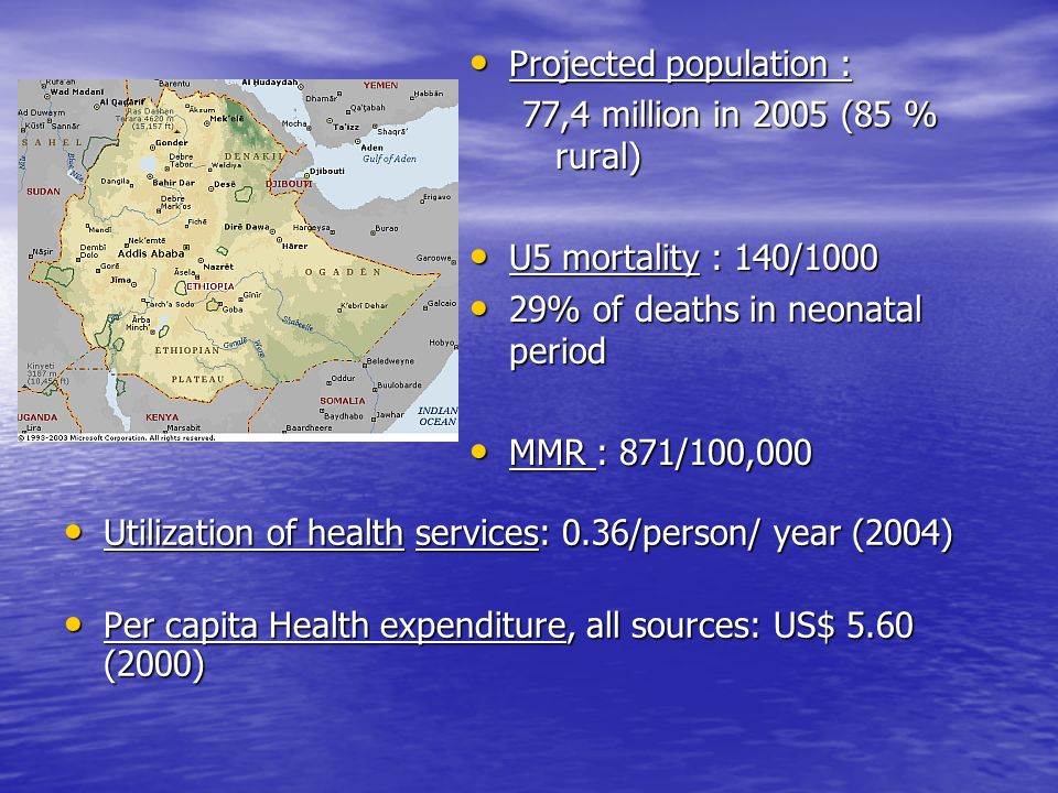 Utilization of health services: 0.36/person/ year (2004) Utilization of health services: 0.36/person/ year (2004) Per capita Health expenditure, all sources: US$ 5.60 (2000) Per capita Health expenditure, all sources: US$ 5.60 (2000) Projected population : Projected population : 77,4 million in 2005 (85 % rural) U5 mortality : 140/1000 U5 mortality : 140/1000 29% of deaths in neonatal period 29% of deaths in neonatal period MMR : 871/100,000 MMR : 871/100,000