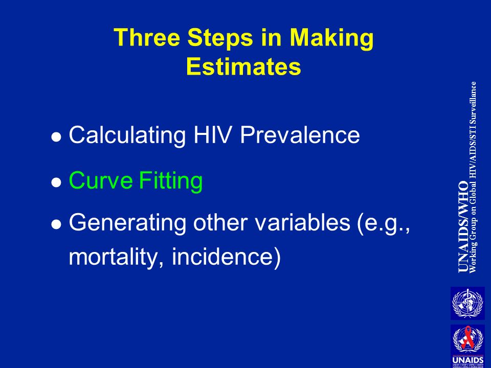 UNAIDS/WHO Working Group on Global HIV/AIDS/STI Surveillance Three Steps in Making Estimates Calculating HIV Prevalence Curve Fitting Generating other variables (e.g., mortality, incidence)