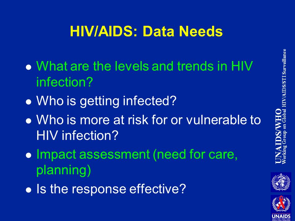 UNAIDS/WHO Working Group on Global HIV/AIDS/STI Surveillance HIV/AIDS: Data Needs What are the levels and trends in HIV infection.
