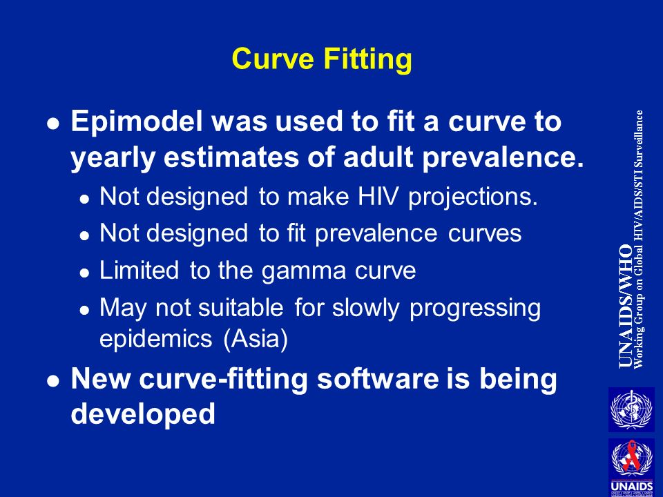 UNAIDS/WHO Working Group on Global HIV/AIDS/STI Surveillance Curve Fitting Epimodel was used to fit a curve to yearly estimates of adult prevalence.