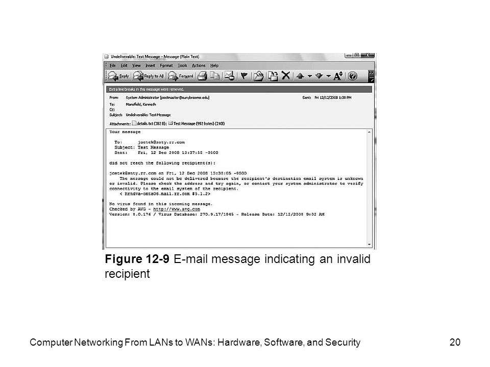 Computer Networking From LANs to WANs: Hardware, Software, and Security20 Figure message indicating an invalid recipient