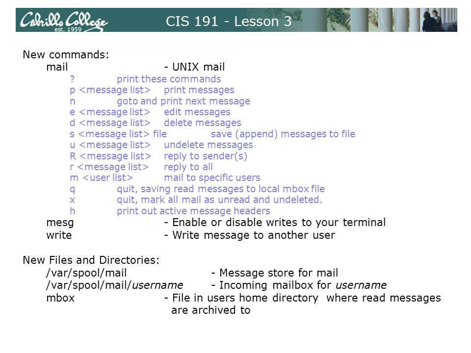 CIS 90 - Lesson 3 Mail Command  UNIX mail Benji sends