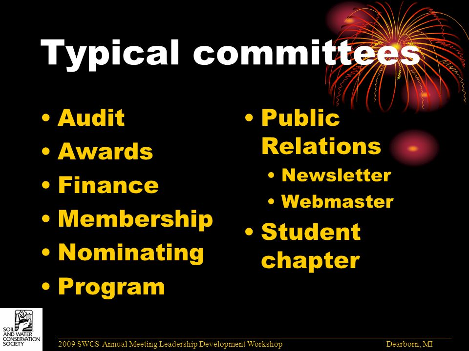 Typical committees Audit Awards Finance Membership Nominating Program Public Relations Newsletter Webmaster Student chapter ______________________________________________________________________________________ 2009 SWCS Annual Meeting Leadership Development Workshop Dearborn, MI