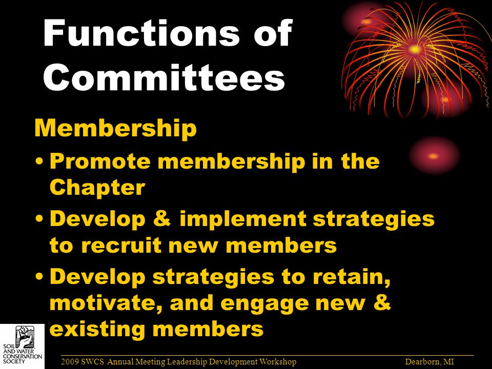 Functions of Committees Membership Promote membership in the Chapter Develop & implement strategies to recruit new members Develop strategies to retain, motivate, and engage new & existing members ______________________________________________________________________________________ 2009 SWCS Annual Meeting Leadership Development Workshop Dearborn, MI