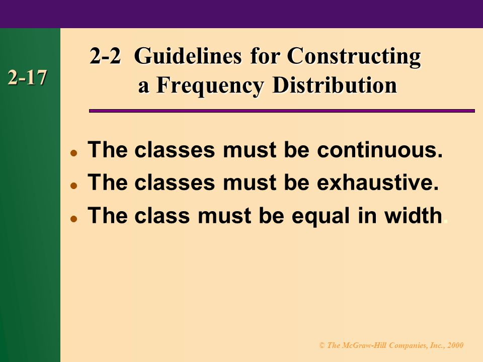 © The McGraw-Hill Companies, Inc., Guidelines for Constructing a Frequency Distribution The classes must be continuous.