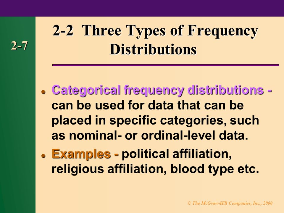 © The McGraw-Hill Companies, Inc., Three Types of Frequency Distributions Categorical frequency distributions- Categorical frequency distributions - can be used for data that can be placed in specific categories, such as nominal- or ordinal-level data.