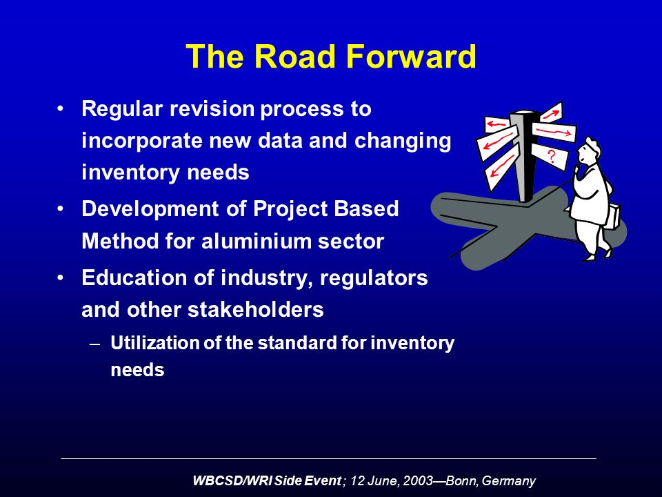 WBCSD/WRI Side Event ; 12 June, 2003—Bonn, Germany The Road Forward Regular revision process to incorporate new data and changing inventory needs Development of Project Based Method for aluminium sector Education of industry, regulators and other stakeholders –Utilization of the standard for inventory needs