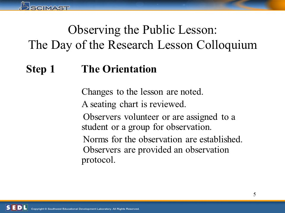 5 Observing the Public Lesson: The Day of the Research Lesson Colloquium Step 1 The Orientation Changes to the lesson are noted.