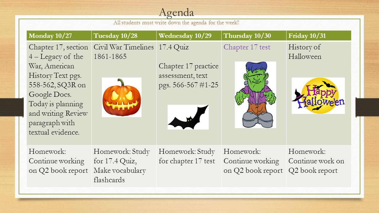 Agenda All students must write down the agenda for the week!.