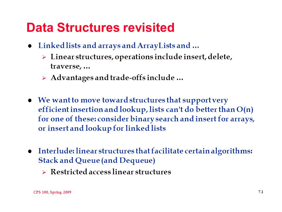 CPS 100, Spring Data Structures revisited l Linked lists and
