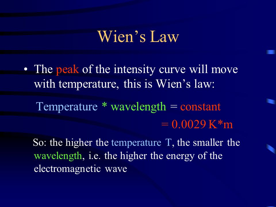 Wien's Law The peak of the intensity curve will move with temperature, this is Wien's law: Temperature * wavelength = constant = K*m So: the higher the temperature T, the smaller the wavelength, i.e.