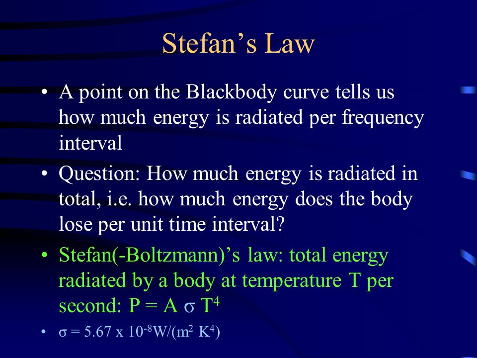 Stefan's Law A point on the Blackbody curve tells us how much energy is radiated per frequency interval Question: How much energy is radiated in total, i.e.