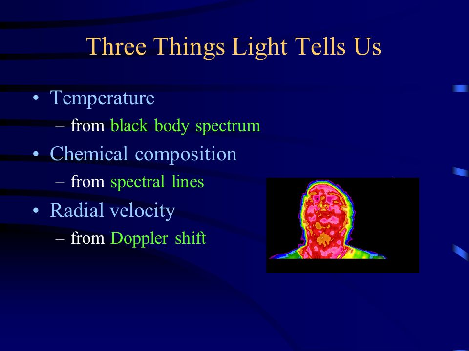 Three Things Light Tells Us Temperature –from black body spectrum Chemical composition –from spectral lines Radial velocity –from Doppler shift