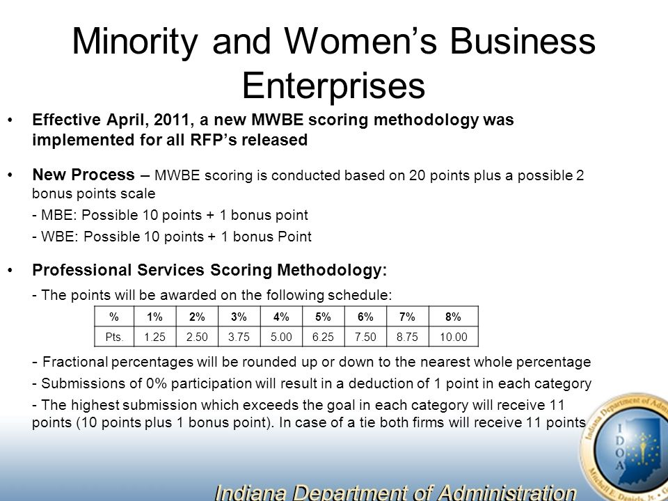 Minority and Women's Business Enterprises Effective April, 2011, a new MWBE scoring methodology was implemented for all RFP's released New Process – MWBE scoring is conducted based on 20 points plus a possible 2 bonus points scale - MBE: Possible 10 points + 1 bonus point - WBE: Possible 10 points + 1 bonus Point Professional Services Scoring Methodology: - The points will be awarded on the following schedule: - Fractional percentages will be rounded up or down to the nearest whole percentage - Submissions of 0% participation will result in a deduction of 1 point in each category - The highest submission which exceeds the goal in each category will receive 11 points (10 points plus 1 bonus point).